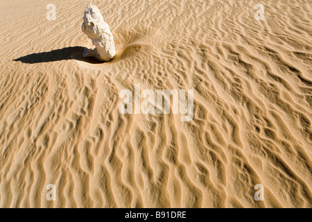 Single elongated rock and its shadow, standing in wind eroded desert floor with wind blow ripples forming abstract - Stock Photo