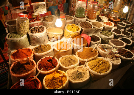 Local spices on display at the saturday night market at Baga in Goa, India - Stock Photo