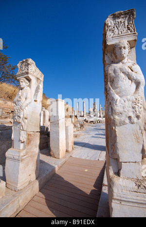 The Hercules Gate at the upper end of Curetes Street Ephesus Turkey - Stock Photo
