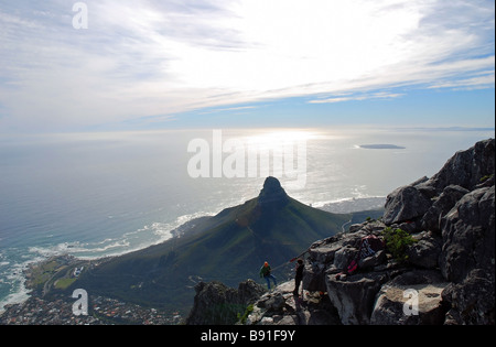 Abseiling from the north west corner of Table Mountain: a 'long drop' to oblivion, Cape Town, South Africa - Stock Photo