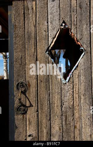 Western style rustic wooden door in Santa Fe NM - Stock Photo