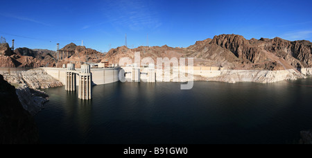 panorama of Hoover Dam and Lake Mead showing the low water level and bridge construction of early 2009 - Stock Photo