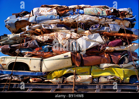 Crushed vehicles for recylcing - Stock Photo