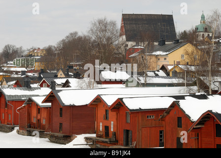 A fine wintery view over the roofs of the old town of Porvoo to the Porvoo Cathedral, Finland, Scandinavia, Europe. - Stock Photo