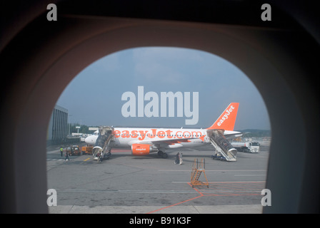 airplane seen from window - malpensa airport - milan - italy - Stock Photo