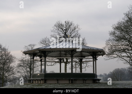The Victorian bandstand in Roundhay Park, Leeds, England, covered in frost in the winter - Stock Photo