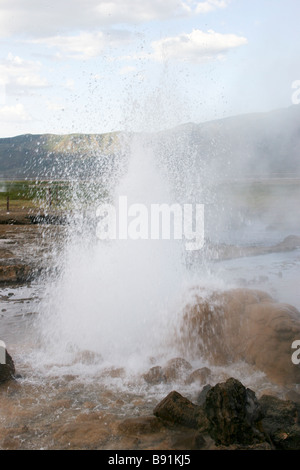Kenya Lake Bogoria Hot springs geysers and steam jets - Stock Photo