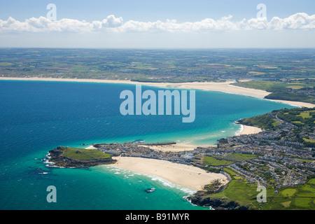 Aerial view of coastline coast St Ives West Penwith Hayle estuary Cornwall England UK United Kingdom GB Great Britain - Stock Photo