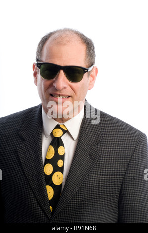 dangerous looking tough man with sunglasses white background - Stock Photo