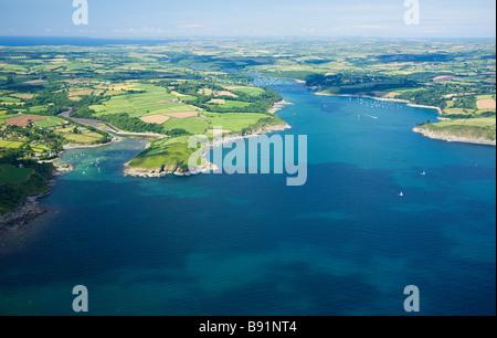 Aerial view of Helford river estuary Cornish Riviera Cornwall England UK United Kingdom GB Great Britain British - Stock Photo