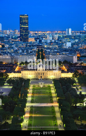 VIEW FROM EIFFEL TOWER ON CHAMP DE MARS AND ECOLE MILITAIRE - Stock Photo