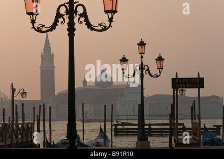 Italy Veneto Venice Piazza San Marco with San Giorgio Maggiore in the background