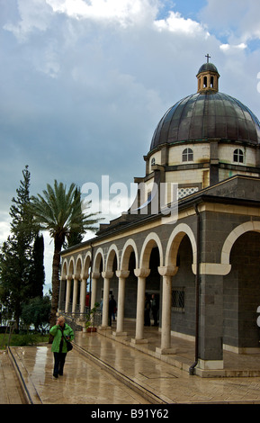 Roman Catholic Franciscan chapel atop Mount of the Beatitudes traditional location of Jesus Christ Sermon on the - Stock Photo