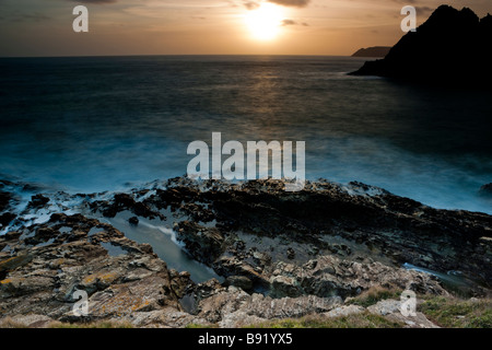 Sunset on the South Devon coast at Prawle Point near East Prawle. UK. Europe - Stock Photo