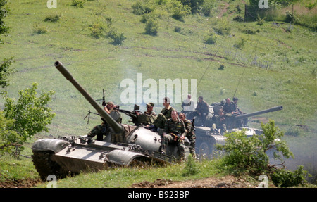South Ossetian a self proclaimed republic in western Georgia Armed forces and volunteers at a interoperability exercise - Stock Photo
