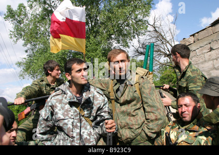 South Ossetian a self proclaimed republic in western Georgia Armed forces and volunteers from Abkhazia North Ossetia - Stock Photo