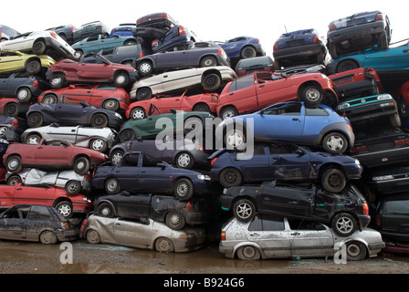 Scrap cars at a recycling centre, Opladen near Leverkusen, North Rhine-Westphalia, Germany. - Stock Photo