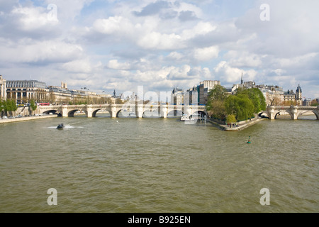Pont Neuf and the Ile de la Cite with River Seine in spring sunshine Paris France Europe EU - Stock Photo