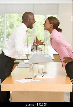 Confrontation between businessman and businesswoman Cape Town Western Cape Province South Africa - Stock Photo