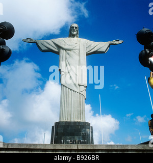 Rio de Janeiro, Brazil. The statue of Jesus Christ (Portuguese: O Cristo Redentor) on Corcovado Mt. - Stock Photo