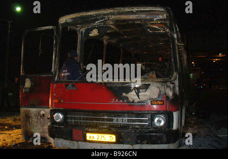 Five people were killed and 13 injured as a passenger bus exploded at 6 p m Local Time last Thursday when crossing - Stock Photo