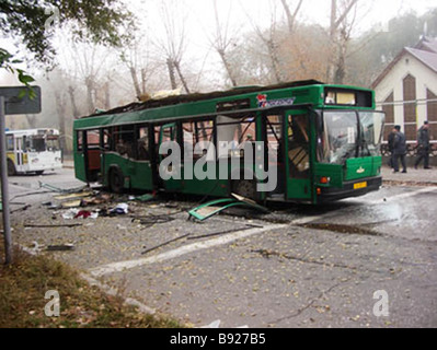 Eight people including one child were killed when a bus exploded in downtown Togliatti - Stock Photo
