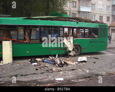 Eight people including one child were killed when a bus exploded in Togliatti - Stock Photo