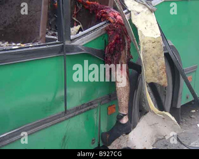 Eight people were killed including one child in a bomb explosion on a buss in Togliatti - Stock Photo