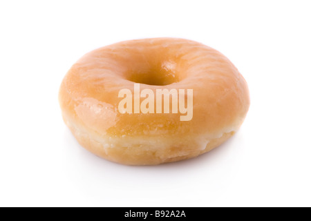 Doughnut or donut isolated on white background. cut out cutout plain american traditional pastry glazed frosting - Stock Photo
