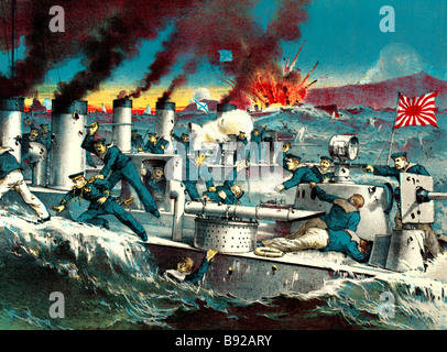 The destruction of Russian torpedo destroyers by Japanese torpedo destroyers at Port Arthur -- the illustration - Stock Photo