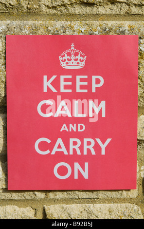 British World War 2 propaganda poster urging people to Keep Calm and Carry On. - Stock Photo