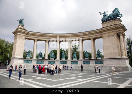 Statues of notable Hungarian figures make up part of the Millennium Monument in Heroes Square Hosok tere in Budapest - Stock Photo