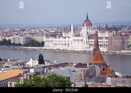 Hungarian Parliament on the banks of the Danube in Budapest as seen from Castle Hill - Stock Photo