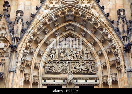 Exterior of St Vitus Cathedral in the Prague Castle Prazsky Hrad precinct Prague Czech Republic - Stock Photo