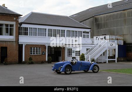 Brooklands Motor-racing circuit near Weybridge, Surrey, Club House, Tea Room, with parked Bugatti. - Stock Photo