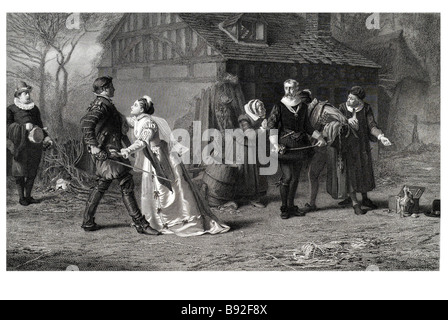 The Duel Interrupted Sword quarrel lady blood insult fray man angry threat costume Marcus Stone - Stock Photo