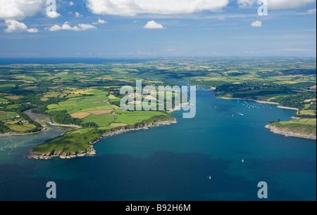 Aerial view of Helford River Estuary in summer sun Cornwall England UK United Kingdom GB Great Britain British Isles - Stock Photo