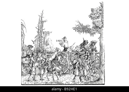 albert durer horse cart workers travellers forest period dress traditional clothing wood carving woodland musician - Stock Photo