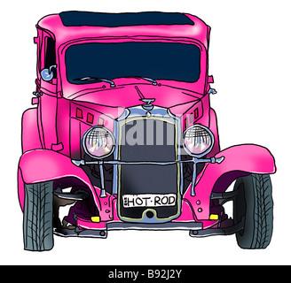 Illustration of Pink Hot Rod - Stock Photo