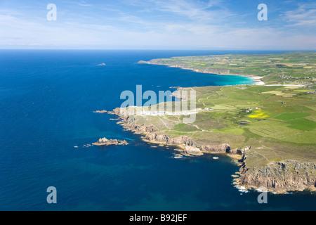 Aerial view of coastline coast Lands Land s End Peninsula Sennen Cove Cornish Riviera Cornwall England UK United - Stock Photo