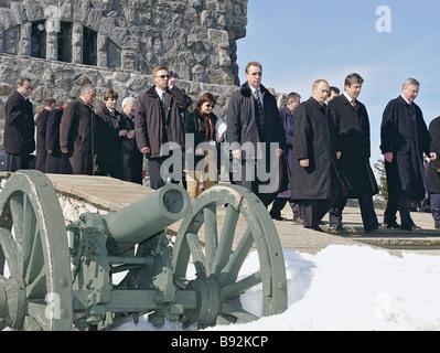 Russian President Vladimir Putin and Bulgarian President Georgi Parvanov visiting the Church of the Nativity of - Stock Photo