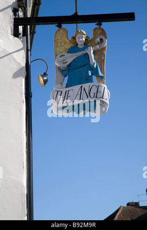 Sign for the Angel hotel Lavenham Suffolk England - Stock Photo
