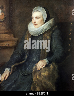 Sir Anthony van Dyck Portrait of Adrian Stephens wife State Pushkin Fine Arts Museum Moscow - Stock Photo