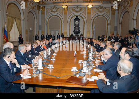 Russian President Vladimir Putin meets with representatives of US business circles at the New York Stock Exchange - Stock Photo