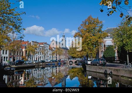 Old University (founded in 1575) Rapenburg 70 Leiden Netherlands  ( where Albert Einstein taught ) - Stock Photo
