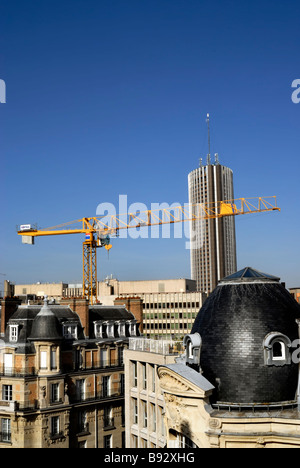 Paris, France, Residential Architecture, Apartments Buildings, Skyscraper, Hotel Construction Crane, Aerial, - Stock Photo