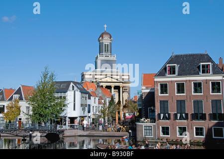Leiden Netherlands Holland river Rhine Hartebrugkerk - Stock Photo