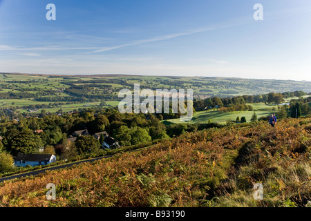 A view taken from Ilkley Moor looking over Wharfedale, towards Otley. - Stock Photo