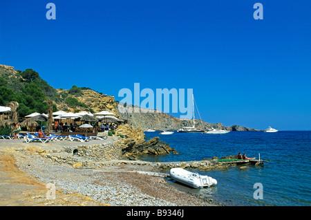 Beach nearby Sa Caleta Ibiza Balearic Islands Spain - Stock Photo