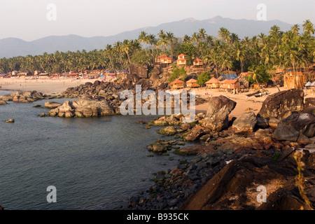 Sunset over Palolem beach,Goa,India. - Stock Photo